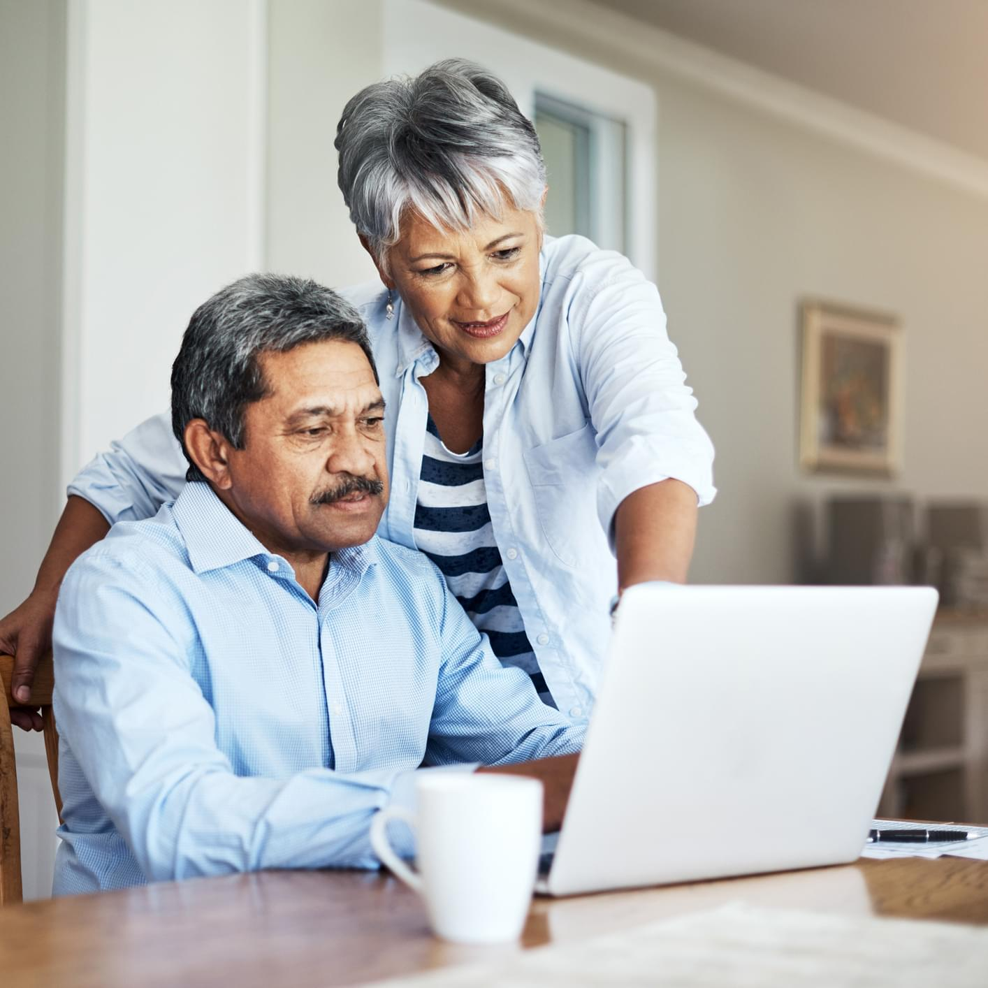 Older couple looking at laptop together